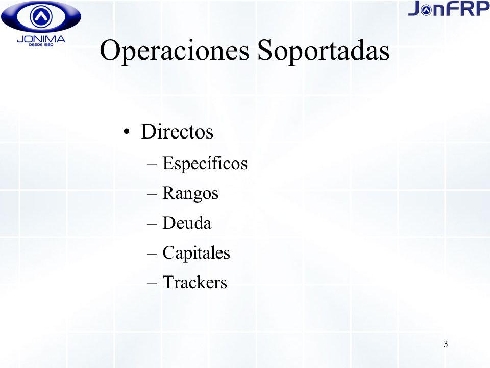 3 Operaciones Soportadas Directos –Específicos –Rangos –Deuda –Capitales –Trackers