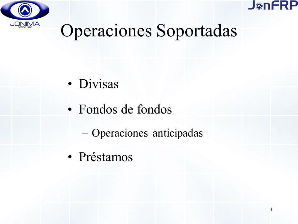4 Operaciones Soportadas Divisas Fondos de fondos –Operaciones anticipadas Préstamos