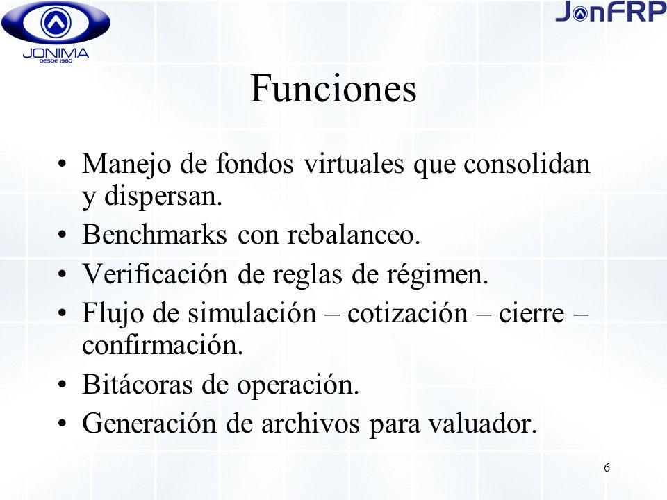 6 Funciones Manejo de fondos virtuales que consolidan y dispersan.