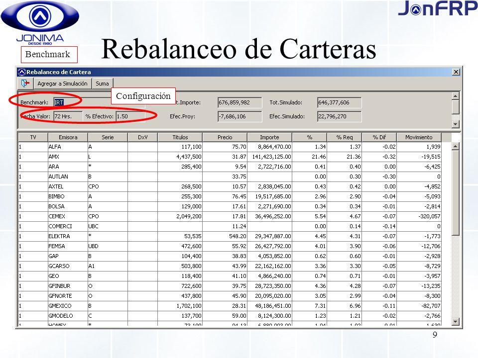9 Rebalanceo de Carteras Benchmark Configuración