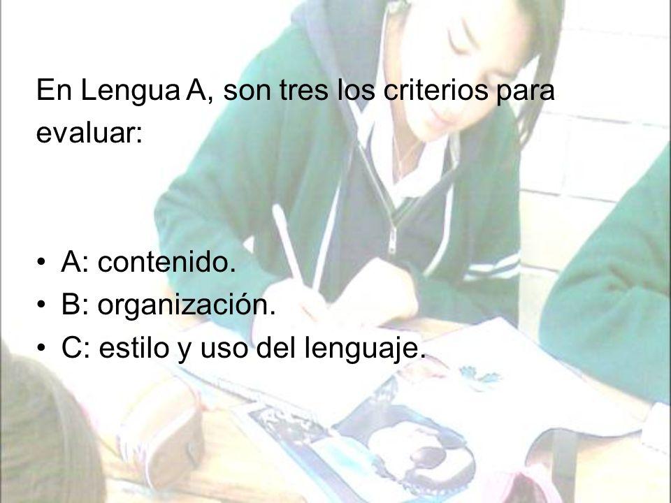 En este criterio se observa la medida en que el alumno: Comprende y analiza la lengua, el contenido, la estructura, el significado y la importancia de textos orales, escritos y visuales.