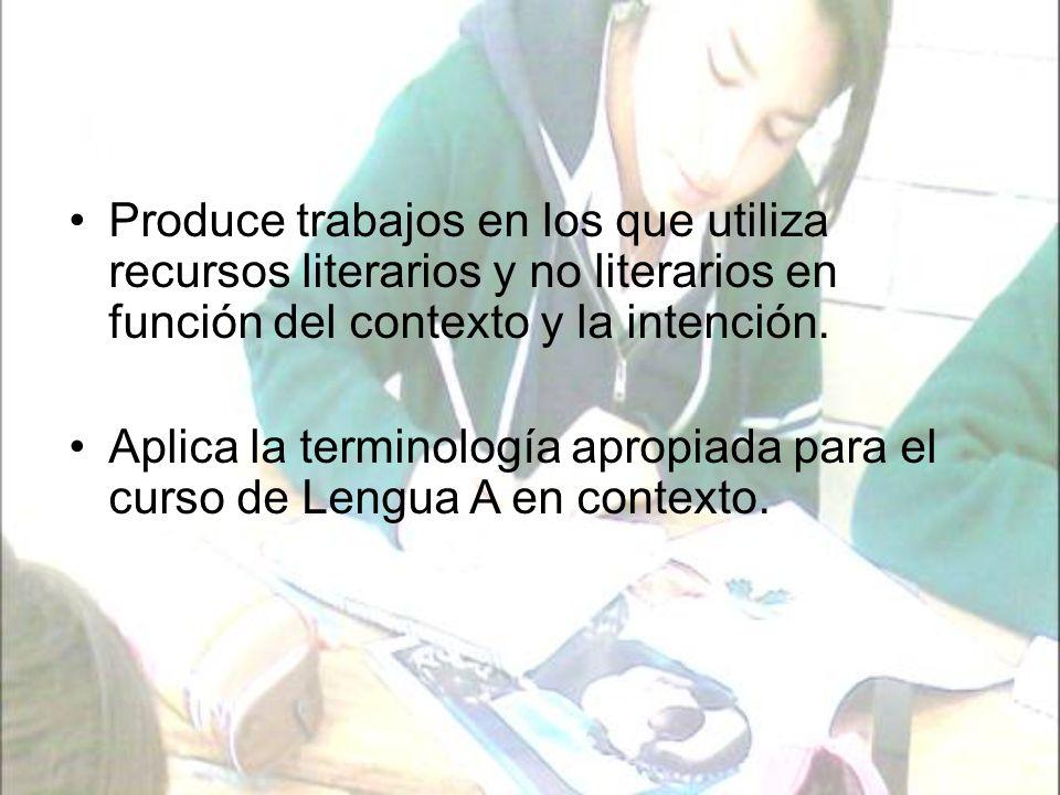 Los trabajos que se toman en cuenta para la evaluación de este criterio son: Trabajos de creación literaria (cuentos, poemas, ensayos, etc.)