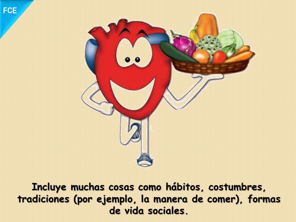 Incluye muchas cosas como hábitos, costumbres, tradiciones (por ejemplo, la manera de comer), formas de vida sociales. FCE