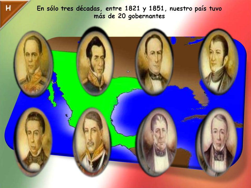 En sólo tres décadas, entre 1821 y 1851, nuestro país tuvo más de 20 gobernantes