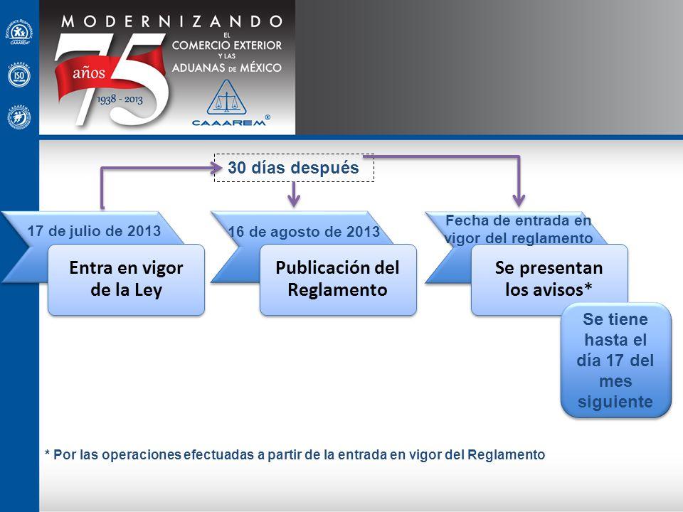 17 de julio de 2013 16 de agosto de 2013 Fecha de entrada en vigor del reglamento 30 días después Se tiene hasta el día 17 del mes siguiente * Por las