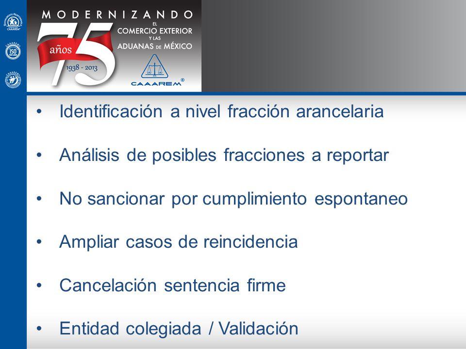 Identificación a nivel fracción arancelaria Análisis de posibles fracciones a reportar No sancionar por cumplimiento espontaneo Ampliar casos de reinc