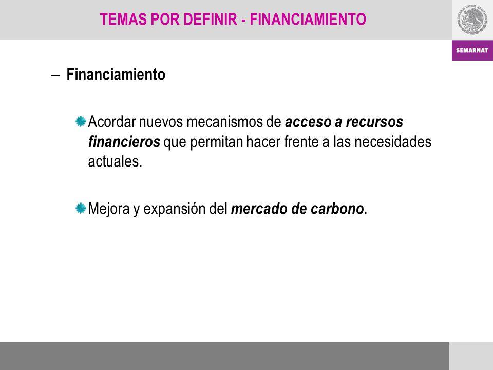 – Financiamiento Acordar nuevos mecanismos de acceso a recursos financieros que permitan hacer frente a las necesidades actuales. Mejora y expansión d
