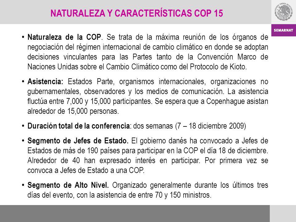 NATURALEZA Y CARACTERÍSTICAS COP 15 Naturaleza de la COP. Se trata de la máxima reunión de los órganos de negociación del régimen internacional de cam