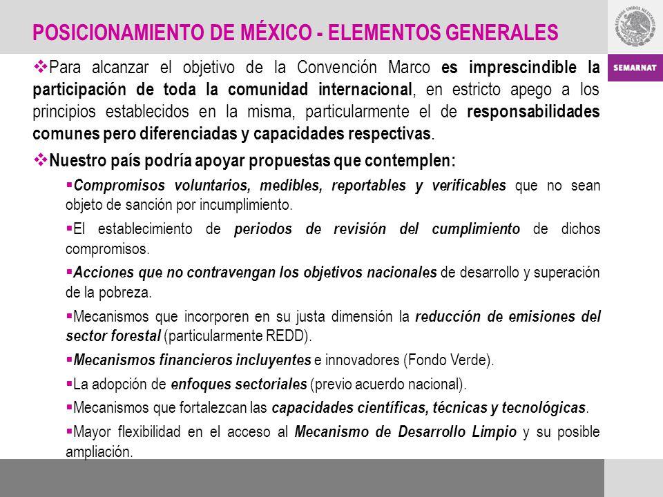 POSICIONAMIENTO DE MÉXICO - ELEMENTOS GENERALES Para alcanzar el objetivo de la Convención Marco es imprescindible la participación de toda la comunid