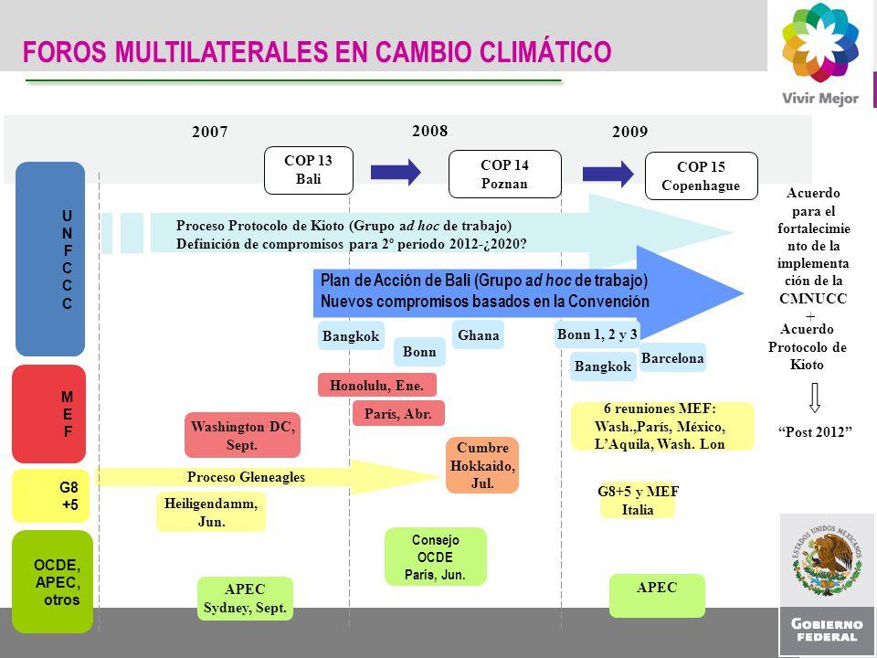 FOROS MULTILATERALES EN CAMBIO CLIMÁTICO Acuerdo para el fortalecimie nto de la implementa ción de la CMNUCC + Post 2012 2007 2008 2009 Proceso Protoc