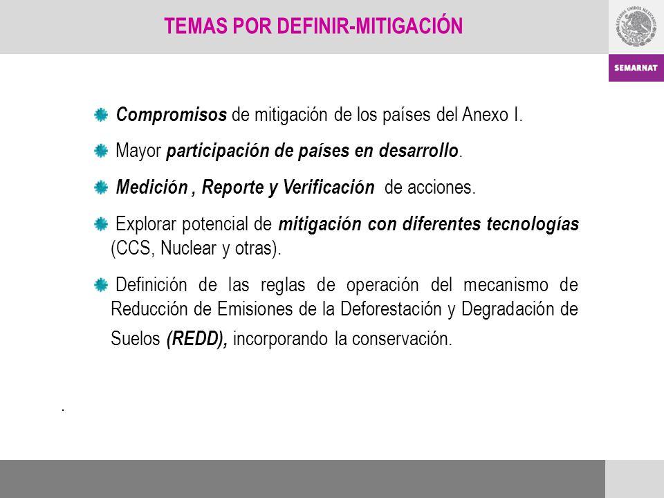 Compromisos de mitigación de los países del Anexo I. Mayor participación de países en desarrollo. Medición, Reporte y Verificación de acciones. Explor