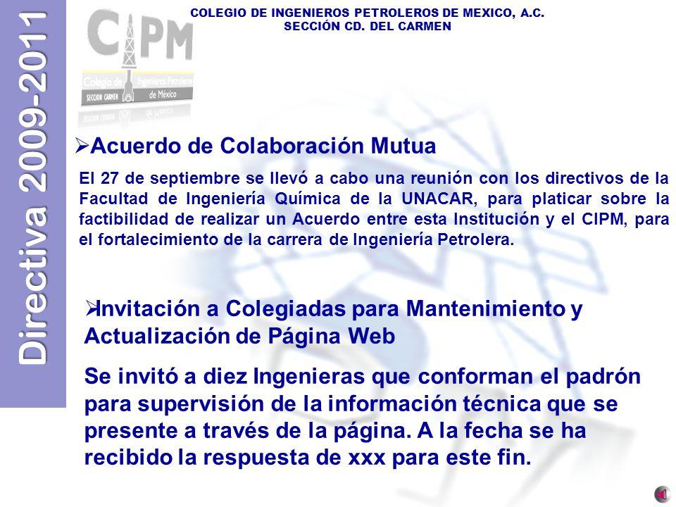 Directiva 2009-2011 COLEGIO DE INGENIEROS PETROLEROS DE MEXICO, A.C. SECCIÓN CD. DEL CARMEN Acuerdo de Colaboración Mutua El 27 de septiembre se llevó