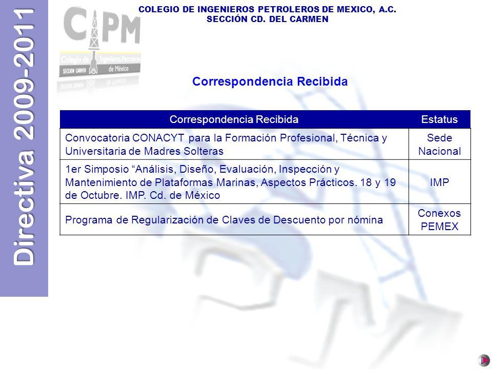 Directiva 2009-2011 COLEGIO DE INGENIEROS PETROLEROS DE MEXICO, A.C. SECCIÓN CD. DEL CARMEN Correspondencia Recibida Estatus Convocatoria CONACYT para