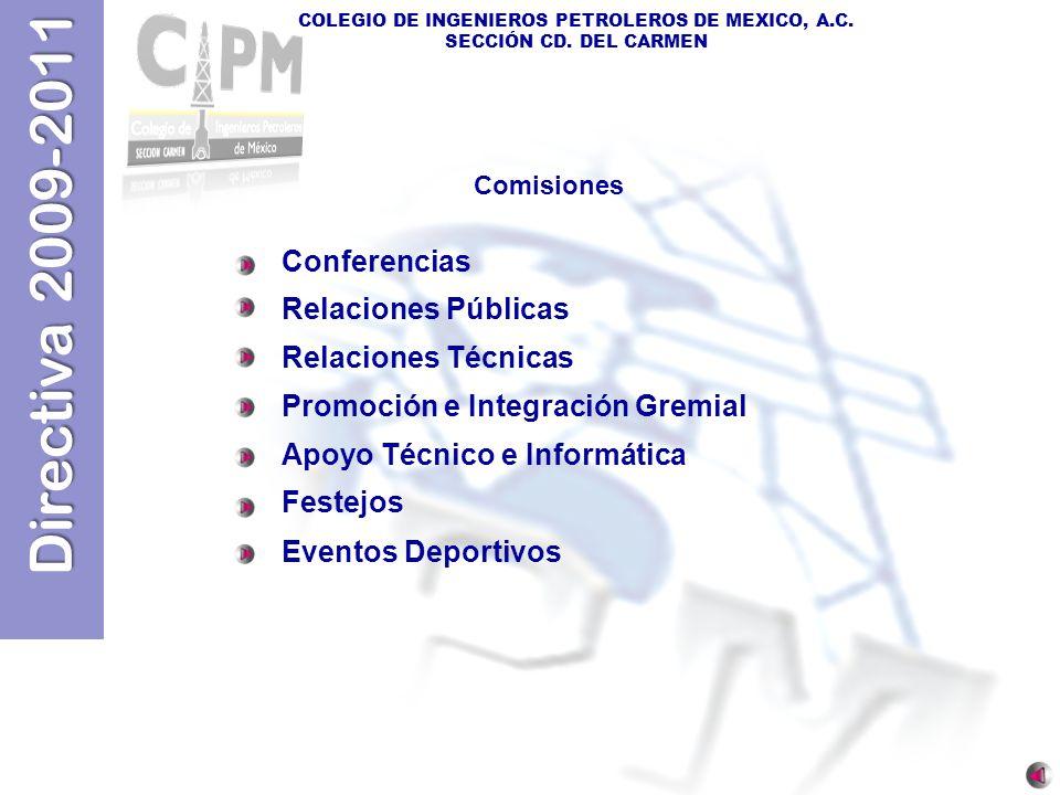 Directiva 2009-2011 COLEGIO DE INGENIEROS PETROLEROS DE MEXICO, A.C. SECCIÓN CD. DEL CARMEN Conferencias Relaciones Públicas Relaciones Técnicas Promo