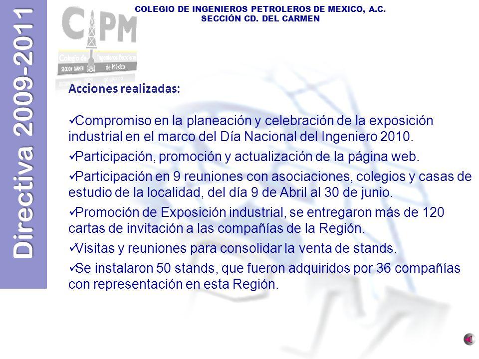 Directiva 2009-2011 COLEGIO DE INGENIEROS PETROLEROS DE MEXICO, A.C. SECCIÓN CD. DEL CARMEN Acciones realizadas: Compromiso en la planeación y celebra