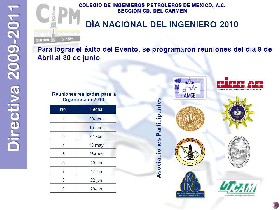 Directiva 2009-2011 COLEGIO DE INGENIEROS PETROLEROS DE MEXICO, A.C. SECCIÓN CD. DEL CARMEN Reuniones realizadas para la Organización 2010: No.Fecha 1