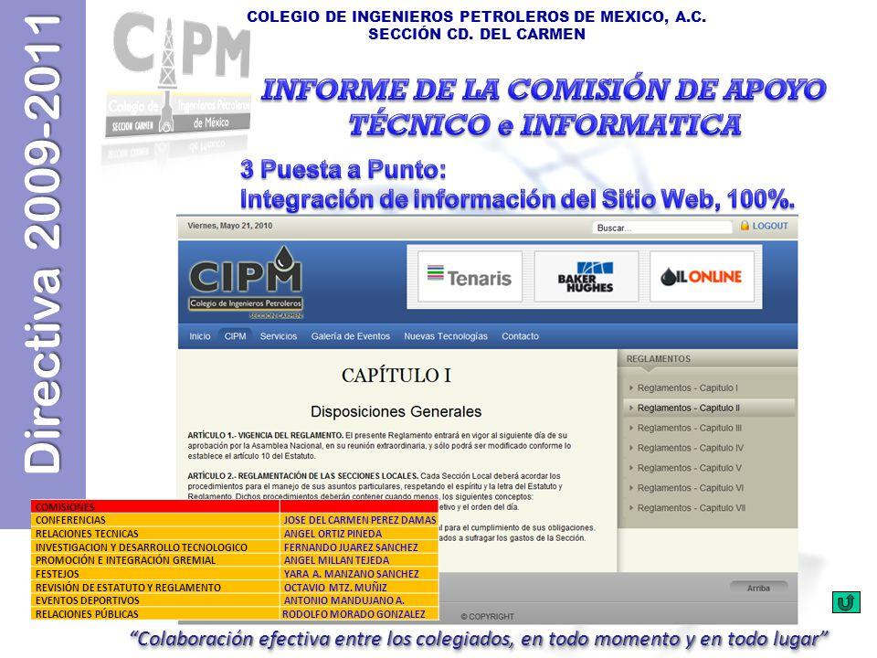 Directiva 2009-2011 COLEGIO DE INGENIEROS PETROLEROS DE MEXICO, A.C. SECCIÓN CD. DEL CARMEN COMISIONES CONFERENCIAS JOSE DEL CARMEN PEREZ DAMAS RELACI