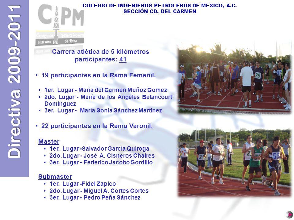 Directiva 2009-2011 COLEGIO DE INGENIEROS PETROLEROS DE MEXICO, A.C. SECCIÓN CD. DEL CARMEN Carrera atlética de 5 kilómetros participantes: 41 19 part