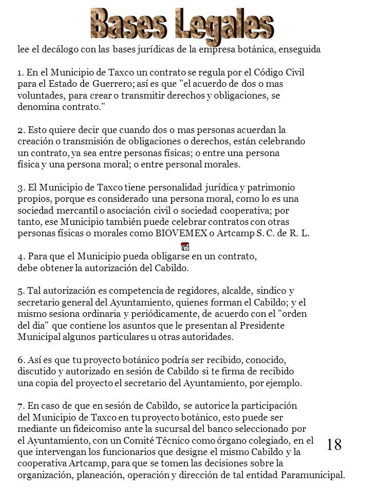 lee el decálogo con las bases jurídicas de la empresa botánica, enseguida 1. En el Municipio de Taxco un contrato se regula por el Código Civil para e