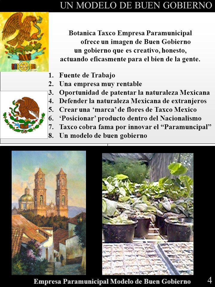 R E S O U R C E A L L O C A T I O N Botanica Taxco Empresa Paramunicipal ofrece un imagen de Buen Gobierno un gobierno que es creativo, honesto, actua