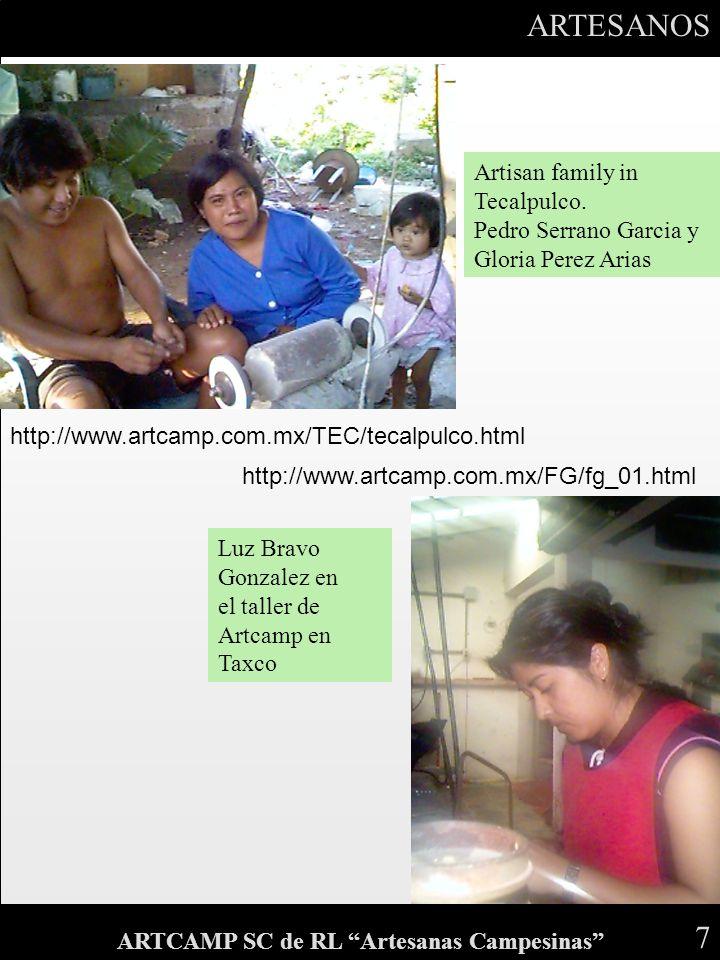 ARTESANOS 7 ARTCAMP SC de RL Artesanas Campesinas Artisan family in Tecalpulco. Pedro Serrano Garcia y Gloria Perez Arias Luz Bravo Gonzalez en el tal