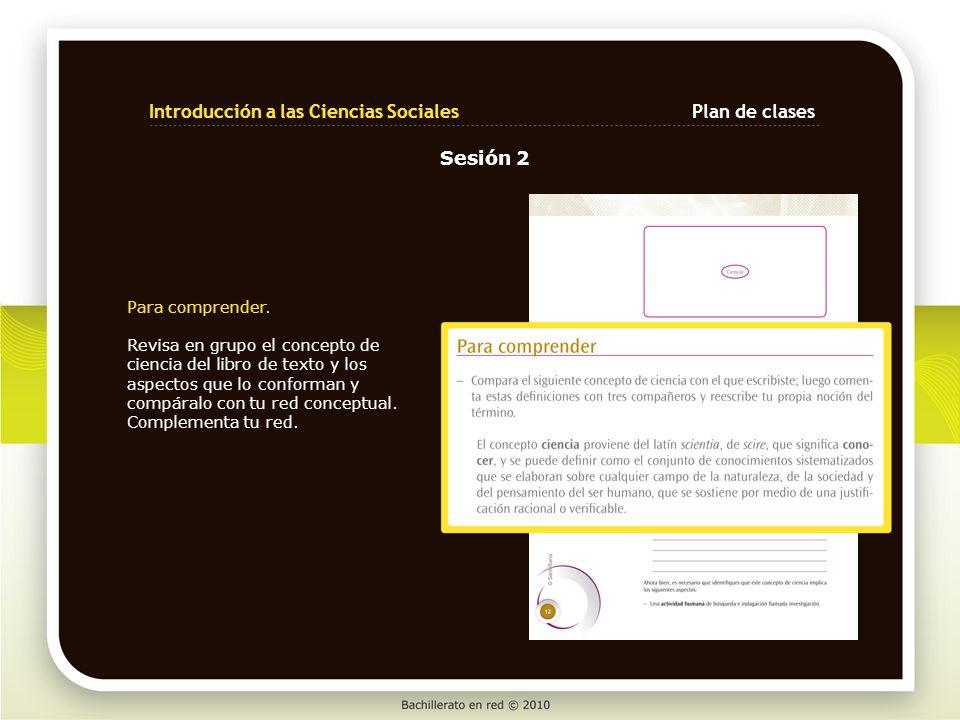 Para comprender. Revisa en grupo el concepto de ciencia del libro de texto y los aspectos que lo conforman y compáralo con tu red conceptual. Compleme