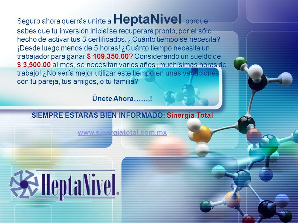 LOGO Seguro ahora querrás unirte a HeptaNivel porque sabes que tu inversión inicial se recuperará pronto, por el sólo hecho de activar tus 3 certifica