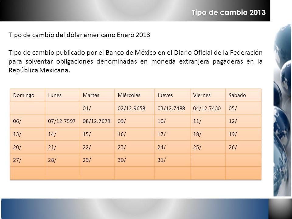 Tipo de cambio del dólar americano Enero 2013 Tipo de cambio publicado por el Banco de México en el Diario Oficial de la Federación para solventar obl