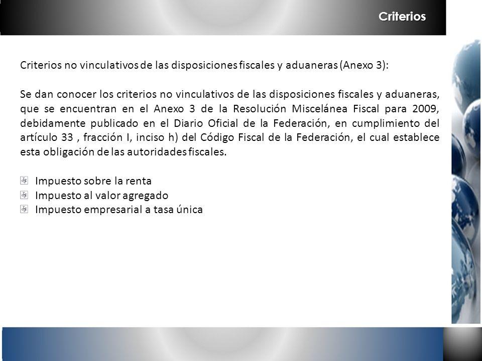 Criterios no vinculativos de las disposiciones fiscales y aduaneras (Anexo 3): Se dan conocer los criterios no vinculativos de las disposiciones fisca