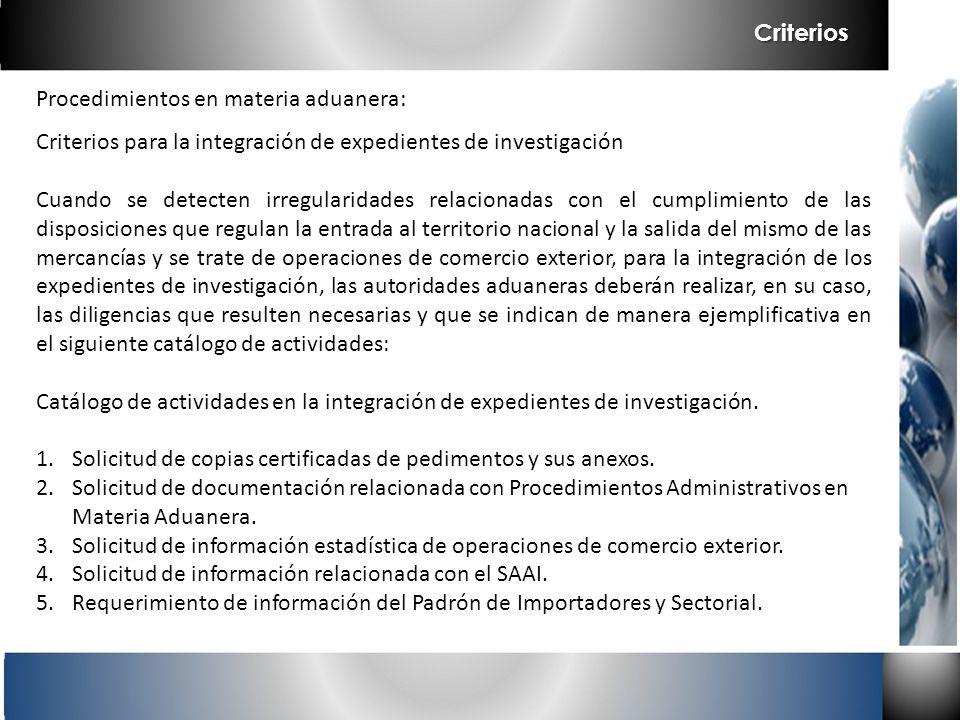 Procedimientos en materia aduanera: Criterios para la integración de expedientes de investigación Cuando se detecten irregularidades relacionadas con