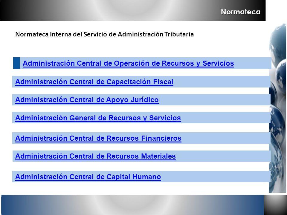 Normateca Interna del Servicio de Administración Tributaria Normateca Administración General de Recursos y Servicios Administración Central de Recurso