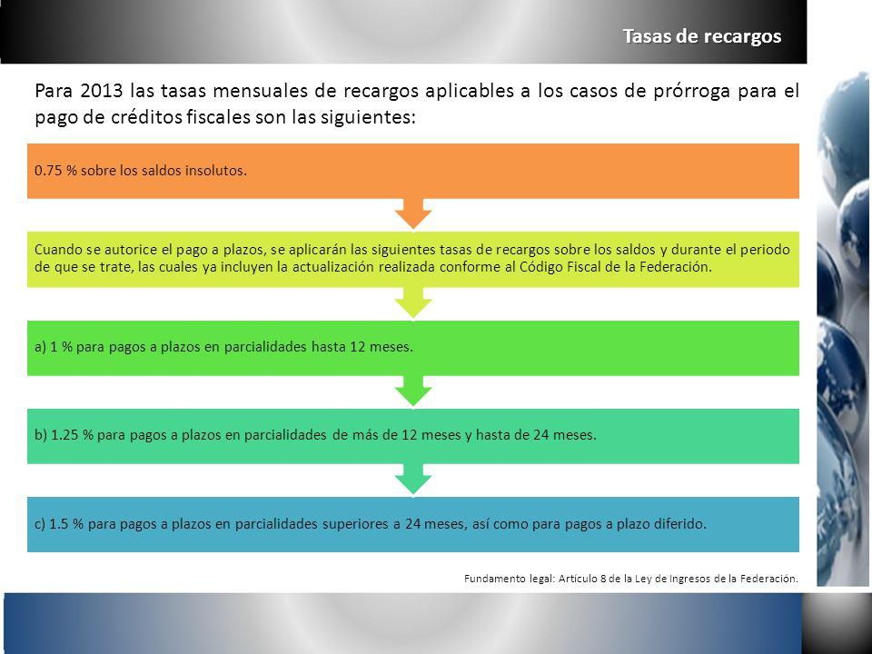 Para 2013 las tasas mensuales de recargos aplicables a los casos de prórroga para el pago de créditos fiscales son las siguientes: Tasas de recargos F