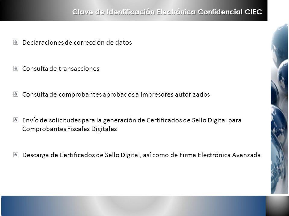 Declaraciones de corrección de datos Consulta de transacciones Consulta de comprobantes aprobados a impresores autorizados Envío de solicitudes para l