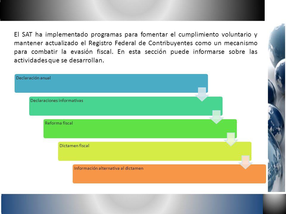 El SAT ha implementado programas para fomentar el cumplimiento voluntario y mantener actualizado el Registro Federal de Contribuyentes como un mecanis