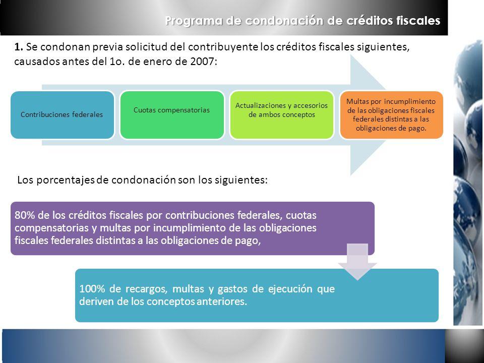 1. Se condonan previa solicitud del contribuyente los créditos fiscales siguientes, causados antes del 1o. de enero de 2007: Los porcentajes de condon