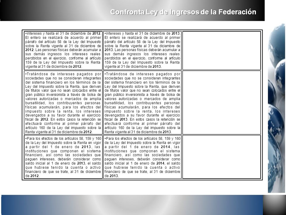 intereses y hasta el 31 de diciembre de 2012. El entero se realizará de acuerdo al primer párrafo del artículo 58 de la Ley del Impuesto sobre la Rent