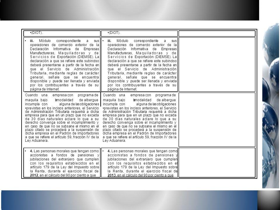 (DIOT). iii. Módulo correspondiente a sus operaciones de comercio exterior de la Declaración Informativa de Empresas Manufactureras, Maquiladoras y de