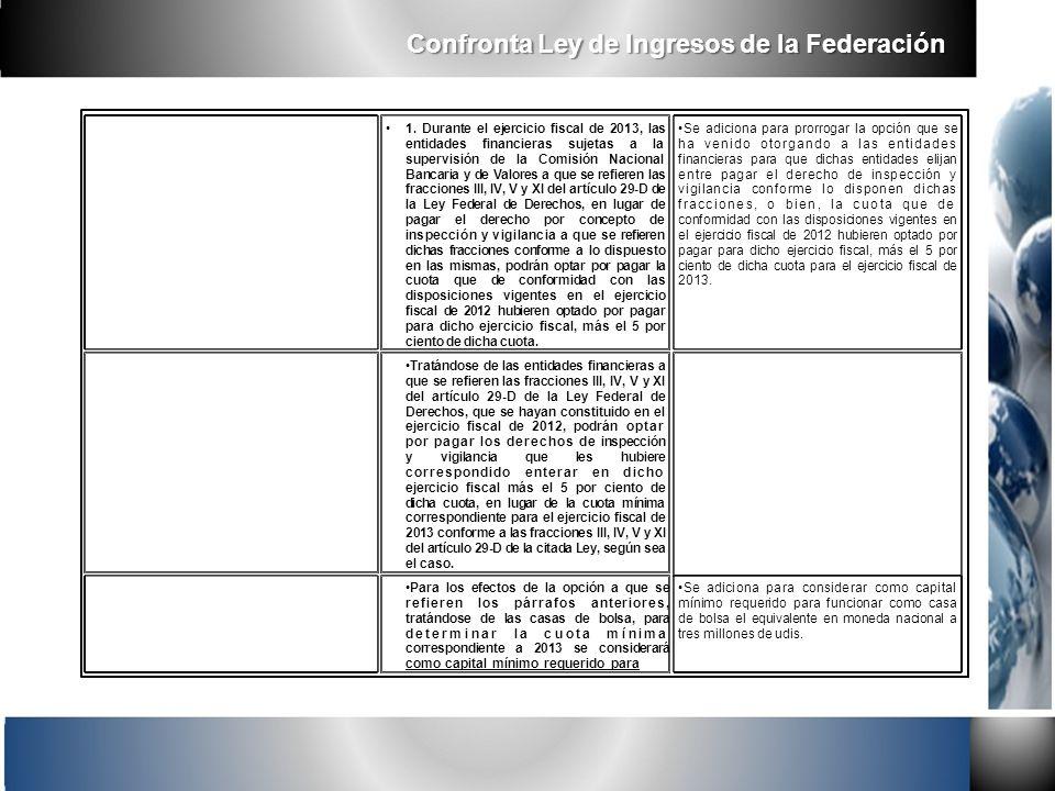 1. Durante el ejercicio fiscal de 2013, las entidades financieras sujetas a la supervisión de la Comisión Nacional Bancaria y de Valores a que se refi