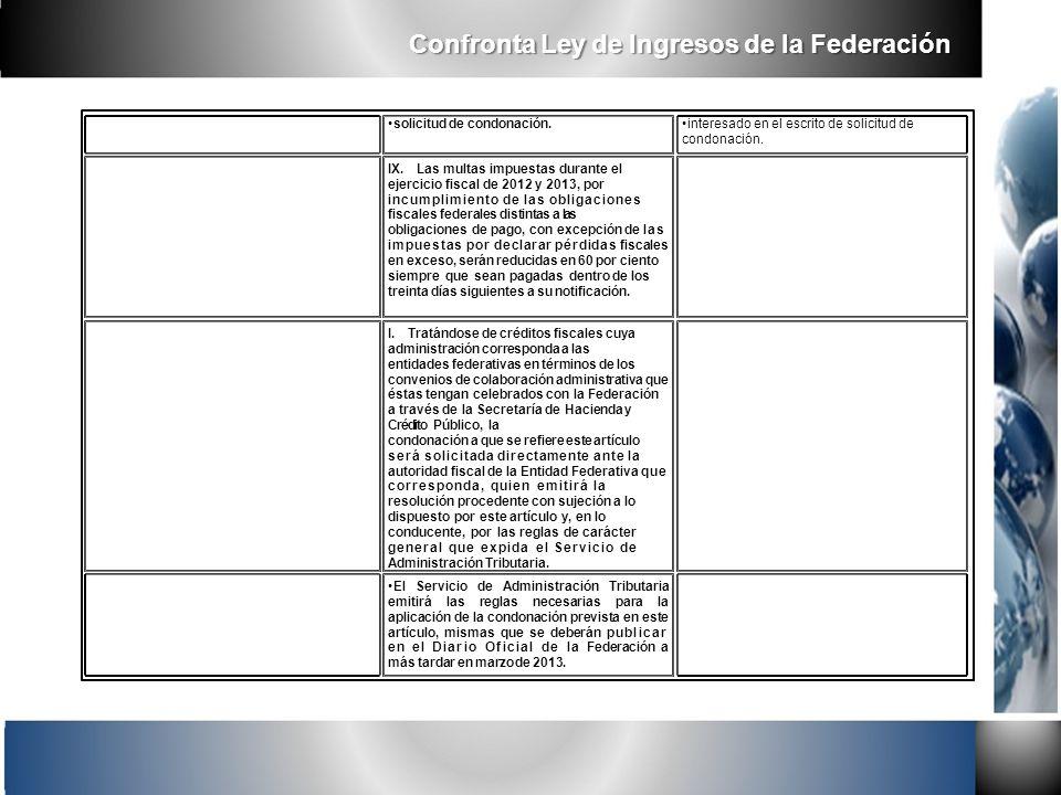 solicitud de condonación. IX.Las multas impuestas durante el ejercicio fiscal de 2012 y 2013, por incumplimiento de las obligaciones fiscales federale