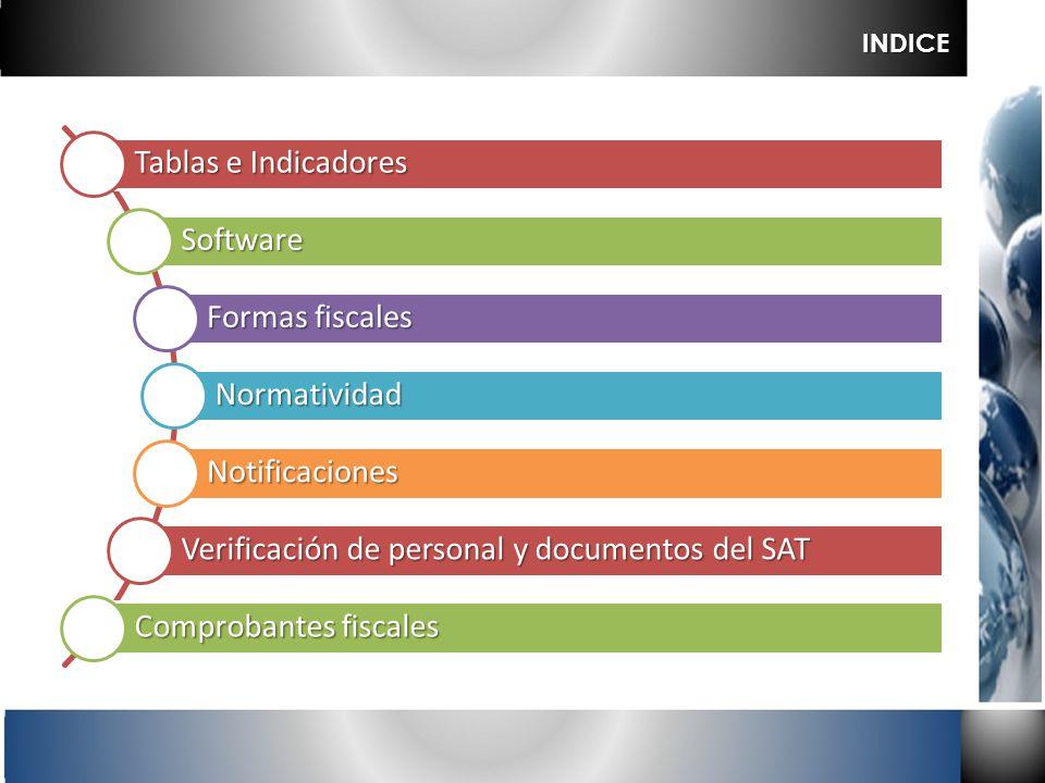 Tablas e Indicadores Software Formas fiscales Normatividad Notificaciones Verificación de personal y documentos del SAT Comprobantes fiscales INDICE