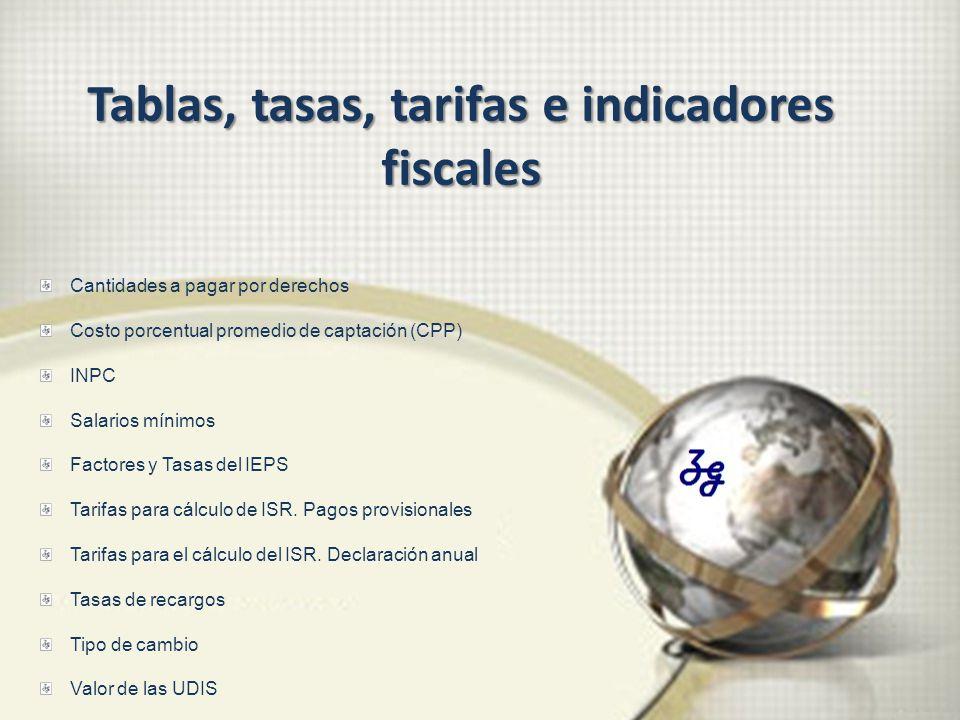 Cantidades a pagar por derechos Costo porcentual promedio de captación (CPP) INPC Salarios mínimos Factores y Tasas del IEPS Tarifas para cálculo de I