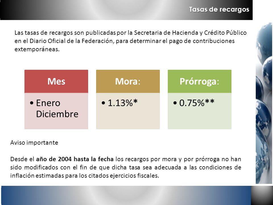 Las tasas de recargos son publicadas por la Secretaria de Hacienda y Crédito Público en el Diario Oficial de la Federación, para determinar el pago de