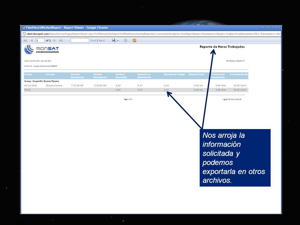 Sección de reportes para descargar información sobre los recorridos.