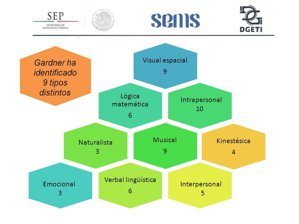 Visual espacial 9 Lógica matemática 6 Musical 9 Verbal lingüística 6 Kinestésica 4 Gardner ha identificado 9 tipos distintos Intrapersonal 10 Interpersonal 5 Naturalista 3 Emocional 3