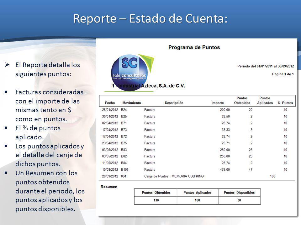 Reporte – Estado de Cuenta: El Reporte detalla los siguientes puntos: Facturas consideradas con el importe de las mismas tanto en $ como en puntos. El