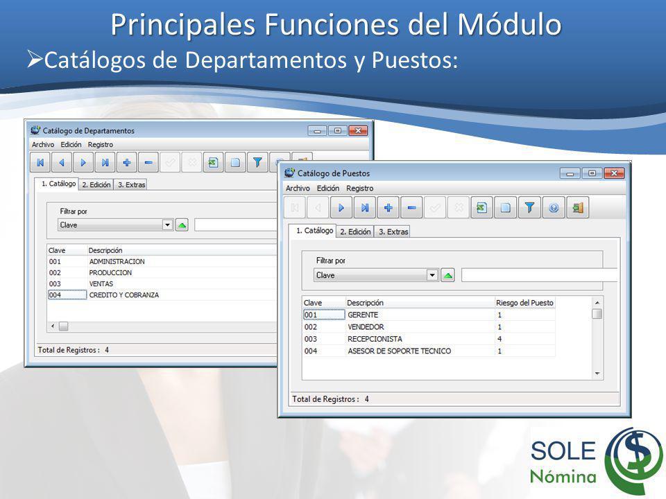 Principales Funciones del Módulo Catálogos de Departamentos y Puestos: