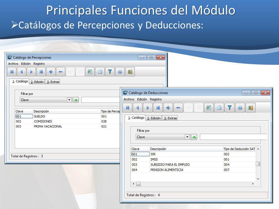 Principales Funciones del Módulo Catálogos de Percepciones y Deducciones:
