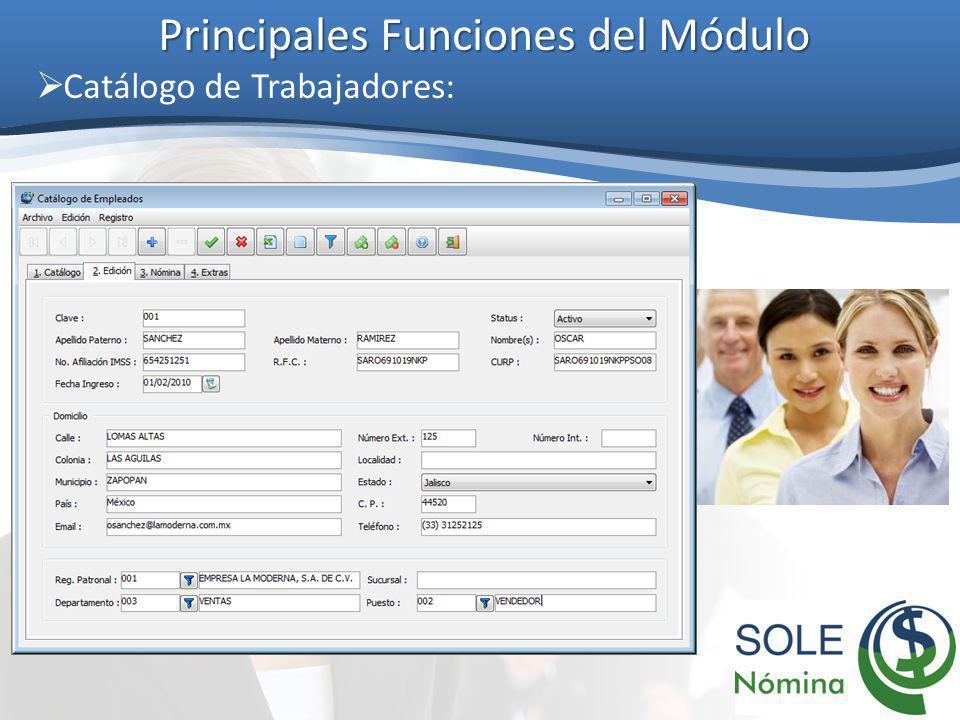 Principales Funciones del Módulo Catálogo de Trabajadores: