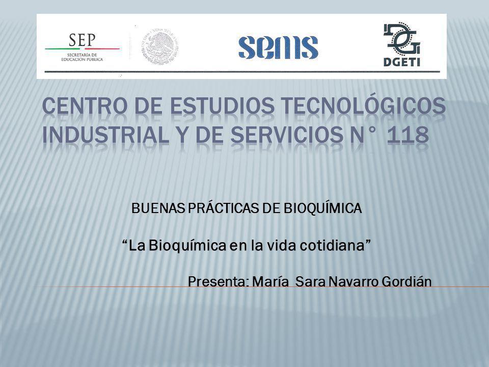 BUENAS PRÁCTICAS DE BIOQUÍMICA La Bioquímica en la vida cotidiana Presenta: María Sara Navarro Gordián
