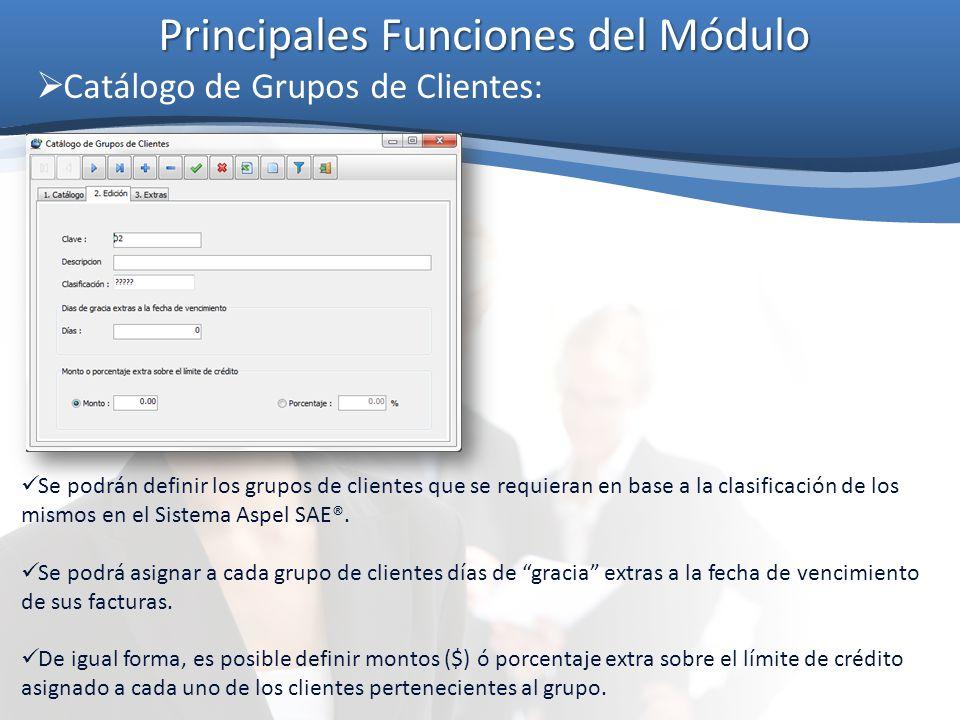 Principales Funciones del Módulo Catálogo de Grupos de Clientes: Se podrán definir los grupos de clientes que se requieran en base a la clasificación